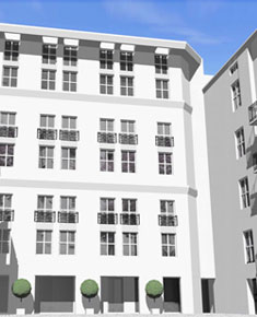 Multi-family residential building with commercial premises and car park<br />Reconstruction of the annexe of the building in ul. Wilcza 22 in Warsaw