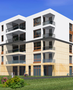 Multi-family residential building with commercial premises,sports hall and car park in ul. Kuflewskiej in Warsaw